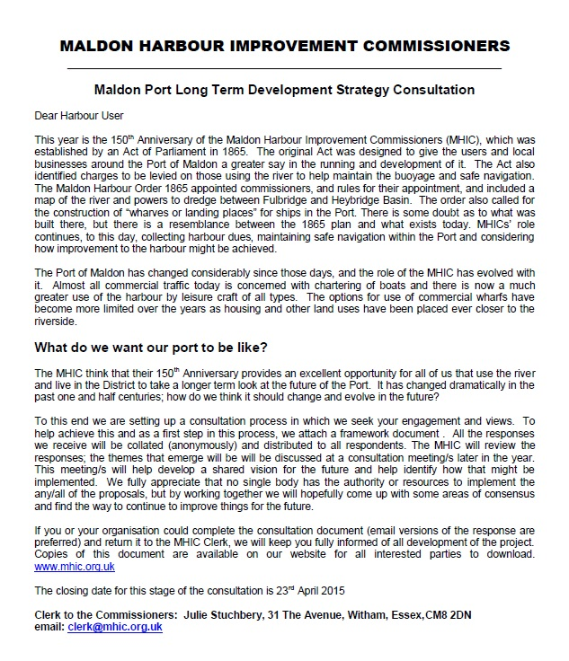 Long Term Strategy Consultation Letter